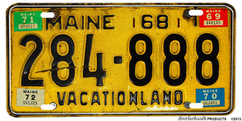1968 Reproduction Print Maine Vacationland Aluminum License plate