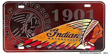 1901 Indian Mototrcycles Design Aluminum License plate