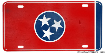 Tennessee Distressed State Flag Aluminum License plate