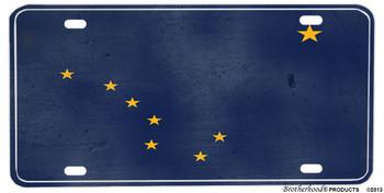 Alaska Distressed State Flag Aluminum License plate