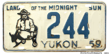 1959 Yukon Reproduction Gold Miner Aluminum License plate