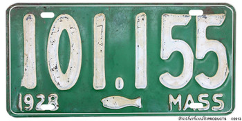 1928 Massachusetts  Fish Reproduction Aluminum License plate