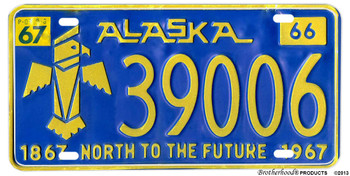 1967 Alaska North to the Future Reproduction Aluminum License plate