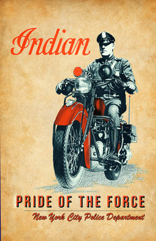 Indian Motorcycle Pride of the Force NYPD 11x17 Poster