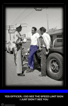 Traffic Stop with Teen Agers and a Hot Rod 11x17 Poster