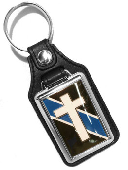 Thin Blue Line Chaplain Cross Faux Leather Key Ring