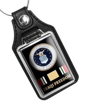 United States Air Force Iraqi Freedom Faux Leather Key Ring