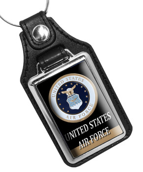 United States Air Force Emblem Faux Leather Key Ring