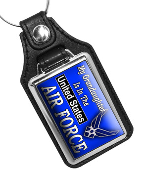 My Grandaughter Is In The Untised States Air Force Faux Leather Key Ring