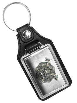 Fireman Firefighter Maltese Cross Faux Leather Key Ring