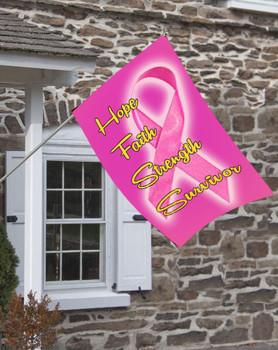 Hope Faith Strength Survivor Breast Cancer Awareness House Flag