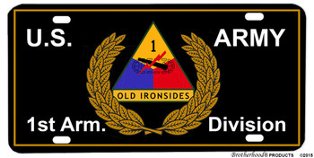1st Armor Division Old Ironsides Aluminum License Plate