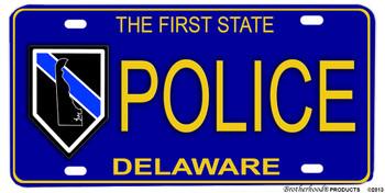 Deleware State Police Aluminum License Plate