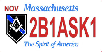 Massachusetts Mason 2B1ASK1 Aluminum License Plate