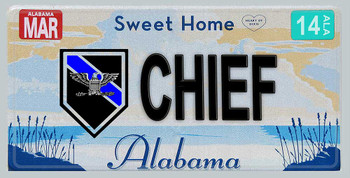 Alabama Police Chief Aluminum License Plate