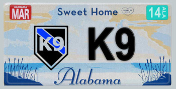 Alabama Police K9 Aluminum License Plate