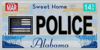 Alabama Thin Blue Line Police License Plate