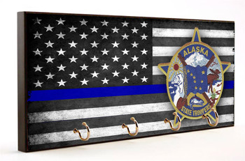 Thin Blue Line Alaska State Trooper Key Hanger