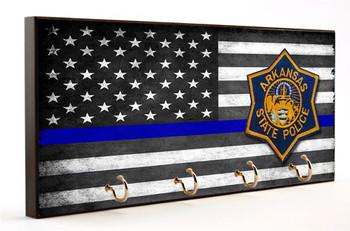 Thin Blue Line Arkansas State Police Key Hanger