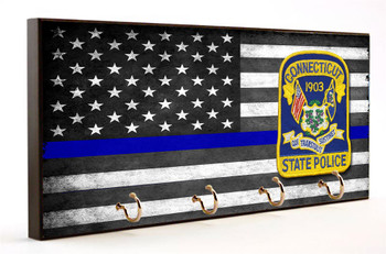 Thin Blue Line Connecticut State Police Key Hanger