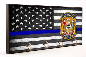 Thin Blue Line Delaware State Police Key Hanger