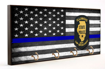Thin Blue Line Illinois State Police Key Hanger