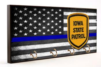 Thin Blue Line Iowa State Patrol Key Hanger