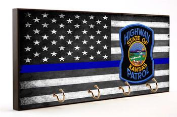 Thin Blue Line Kansas Highway Patrol Key Hanger