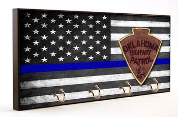 Blue Line Oklahoma State Highway Patrol Key Hanger
