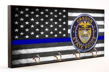 Thin Blue Line Oregon State Police Key Hanger