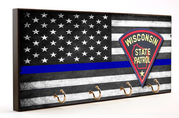 Thin Blue Line Wisconsin State Patrol Key Hanger
