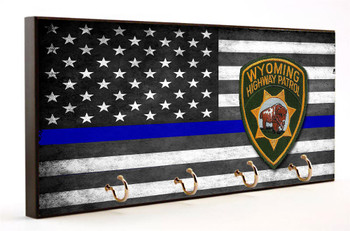 Thin Blue Line Subdued American Flag Wyoming State Highway Patrol Key Hanger