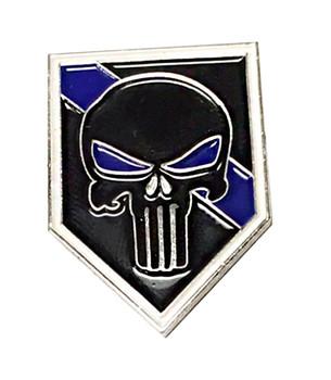 Thin Blue Line Punsisher Police Lapel Pin