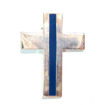 Silver Thin Blue Line Cross