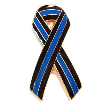 Thin Blue Line 1 inch Ribbon Lapel Pin Package of Two