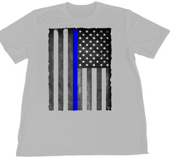 Thin Blue Line American Flag Wicking Shirt S-XXL - Gray