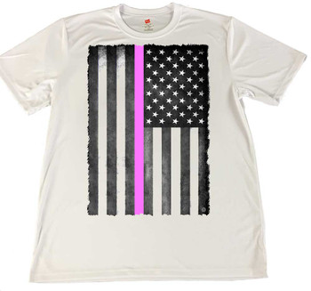 Vertical Thin Pink Line American Flag Wicking Material T-Shirt -Breast Cancer Awareness