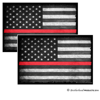 Thin Red Line Subdued American Flag Decal