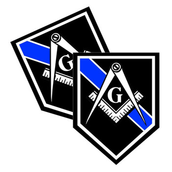 Thin Blue Line Mason Unit Shield Shaped Police Decal Package of 4