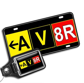 AV8R vanity license plate and matching key ring
