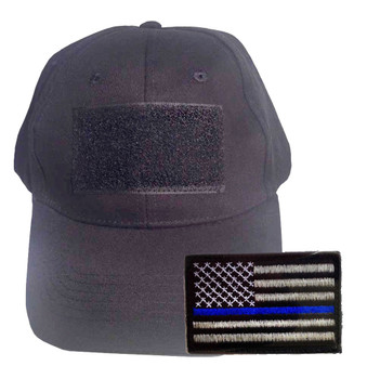 Black Tactical Cap with Velcro Comes With Thin Blue Line Velcro Patch