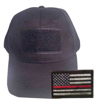 Black Tactical Cap with Velcro Comes With Thin RedLineAmerican Flag Velcro Patch