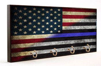 fading thin blue line into American Flag Key Ring Holder