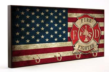 Maltese Cross American Flag Key Hanger - Firefighter