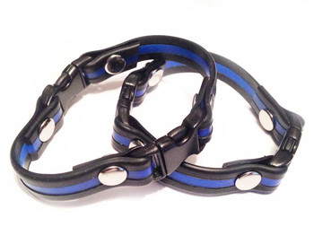 Thin Blue Line Riveted Silicone Bracelet Pack of 2