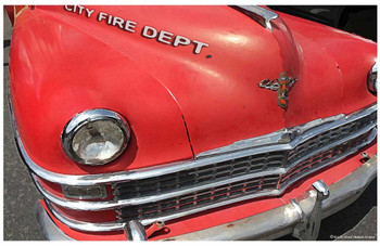 "Vintage Ford Fairlane City Fire Department Car Poster - 24"" x 36"""