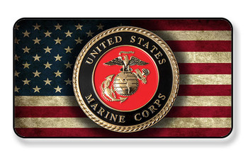 United States Marines Seal on Distressed American Flag Magnet - PACKAGE OF 4