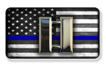 Police Captain Bars On Subdued Thin Blue Line American Flag Magnet - Package of 4