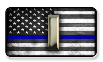 Police Corporal Bars On Subdued Thin Blue Line American Flag Magnet - Package of 4