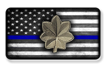 Police Major On Subdued Thin Blue Line American Flag Magnet - Package of 4